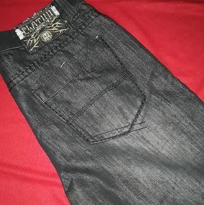"Platini Mens Designer Jeans - 36x32 ""Shiny Blk"""